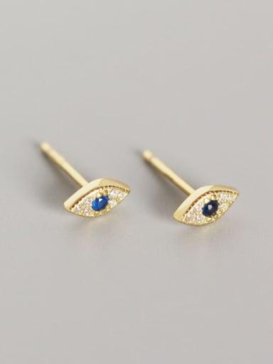 Gold 925 Sterling Silver Rhinestone Blue Evil Eye Trend Stud Earring