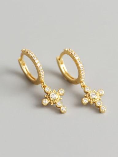 Gold 925 Sterling Silver Rhinestone White Cross Luxury Huggie Earring