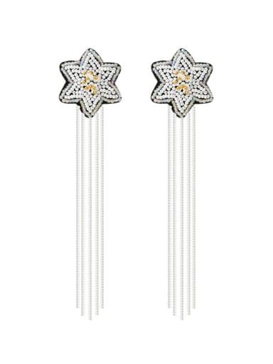 White e68840 Alloy Star Bead Tassel Bohemia Hand-Woven Drop Earring