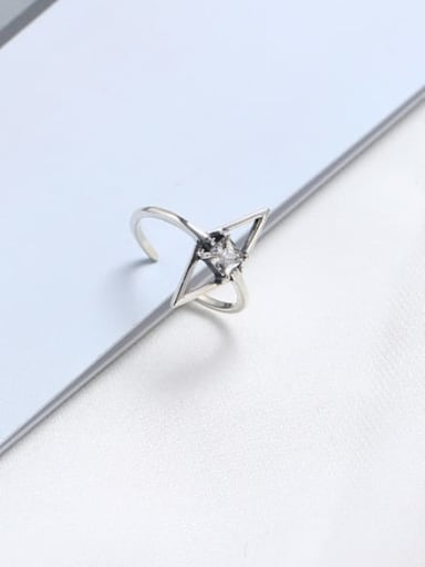 925 Sterling Silver Cubic Zirconia White Geometric Minimalist Solitaire Ring