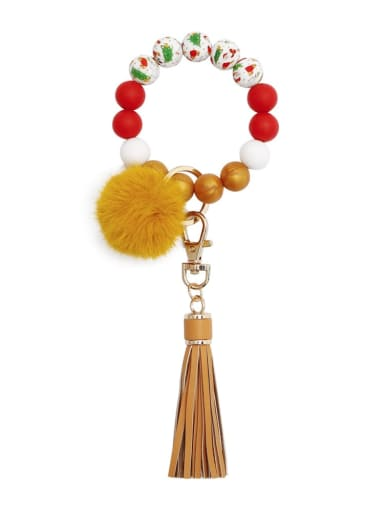 Golden k68315 Alloy Multi Color  Silicone Leather  Tassel fur ball christmas tree Key Chain