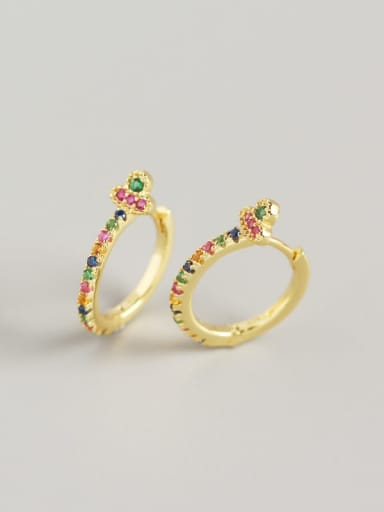 4#(Color stone) golden color 925 Sterling Silver Cubic Zirconia Multi Color Geometric Trend Huggie Earring