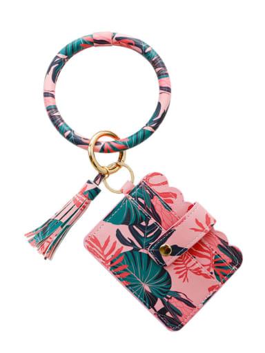 K68246 Alloy Leather Plant pattern Wrist Card Holder Key Chain