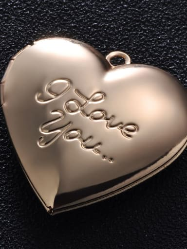 KC gold (champagne gold) Copper Message Heart Charm Height : 28.7mm , Width: 28.7 mm