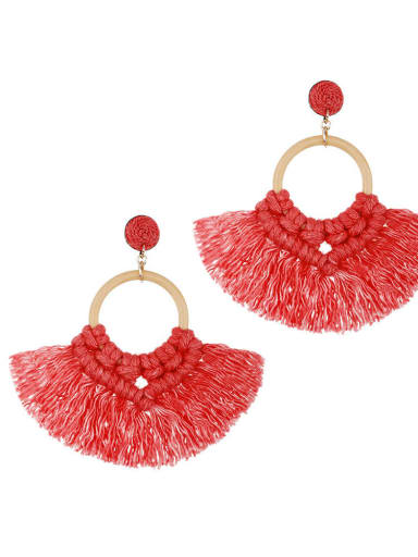 Red e68743 Alloy Cotton Tassel Bohemia Hand-Woven Stud Earring