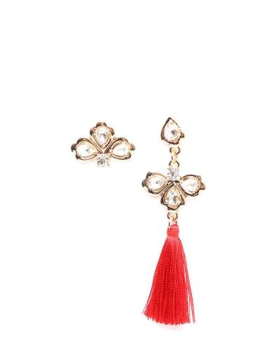 Red e68265 Alloy Tassel Asymmetry Bohemia Hand-Woven Drop Earring