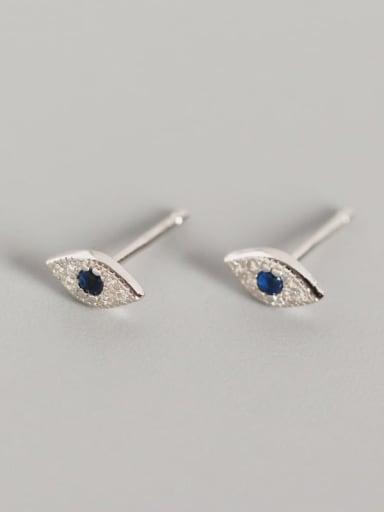 Platinum 925 Sterling Silver Rhinestone Blue Evil Eye Trend Stud Earring