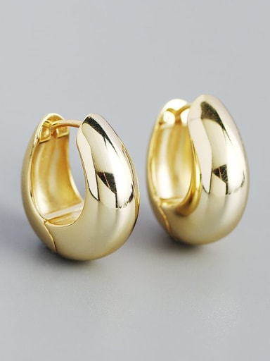Gold 925 Sterling Silver Geometric Minimalist Huggie Earring