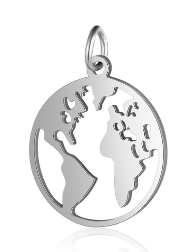 Stainless steel Round Charm Height : 17.5 mm , Width: 23 mm