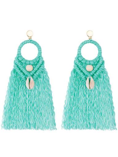 E68742 Mint Green Alloy Shell Cotton Tassel Bohemia  Hand-woven  Drop Earring