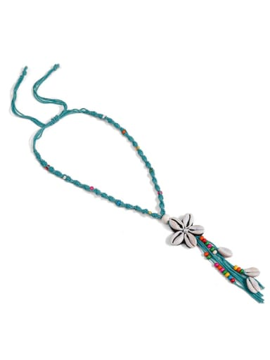 N70251 Pearl Cotton Tassel Hand-Woven  Flower Lariat Necklace