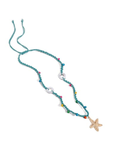 Navy n70248 Alloy Shell Cotton Beads Rope  Star Hand-Woven Artisan Lariat Necklace