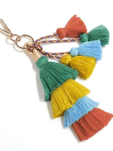 K68105 Alloy Cotton Rope Tassel Bohemia Hand-Woven Bag Pendant