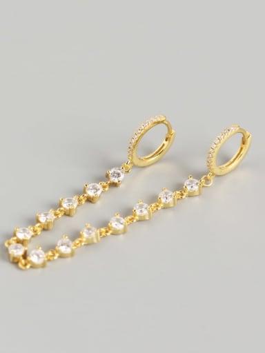 Gold 925 Sterling Silver Rhinestone White Geometric Luxury Huggie Earring