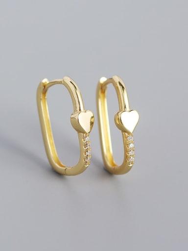 Heart shape (yellow gold) 925 Sterling Silver Cubic Zirconia Geometric Minimalist Huggie Earring