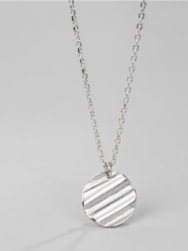 925 Sterling Silver  Minimalist Round Concave Convex  Necklace