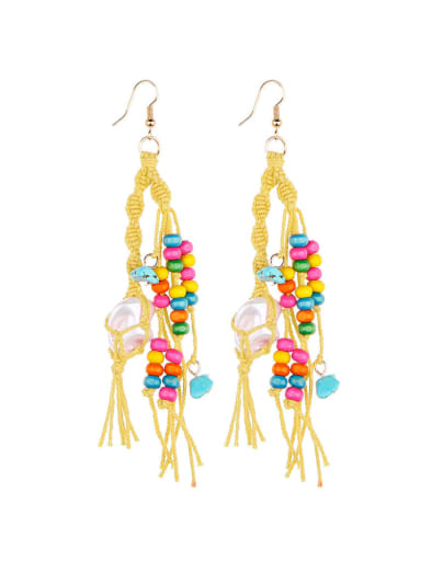Yellow e68745 Alloy Turquoise Cotton Rope  Wooden beads Tassel Artisan Hand-Woven Drop Earring