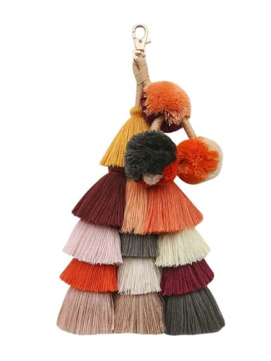 Deep color Alloy Cotton Rope  Tassel Hand-Woven Bohemia Bag Pendant