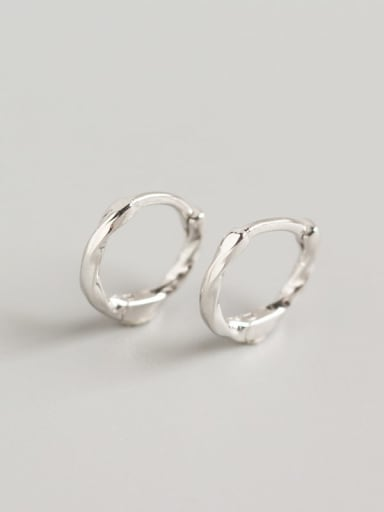 1#Platinum 925 Sterling Silver Geometric Minimalist Huggie Earring