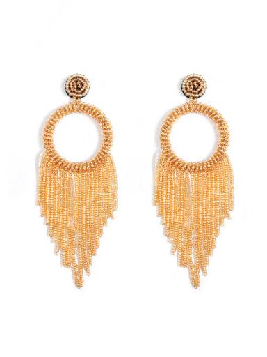 Gold e68796 Alloy Bead Tassel Bohemia Hand-Woven  Drop Earring