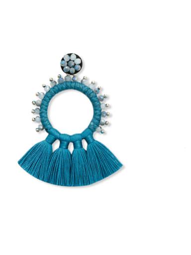 E68832 Alloy Bead Cotton Rope Tassel Bohemia Hand-Woven Drop Earring