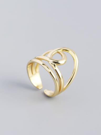 Golden 925 Sterling Silver Geometric Vintage Band Ring