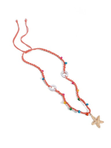 Alloy Shell Cotton Beads Rope  Star Hand-Woven Artisan Lariat Necklace