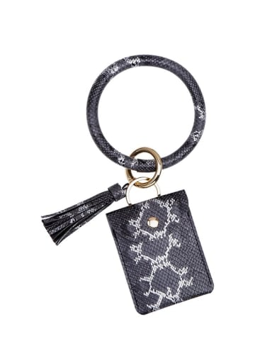 Black k68170 Alloy Leather Serpentine Coin Purse Hand ring/Key Chain