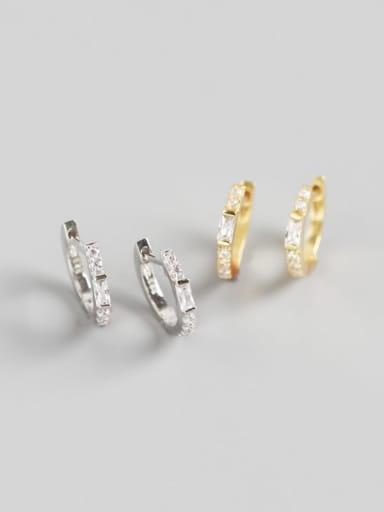 925 Sterling Silver Rhinestone White Geometric Trend Huggie Earring