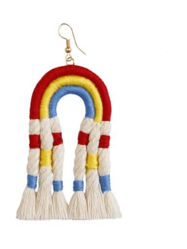 E68845 Alloy Cotton Rope Tassel Bohemia Hand-Woven  Drop Earring