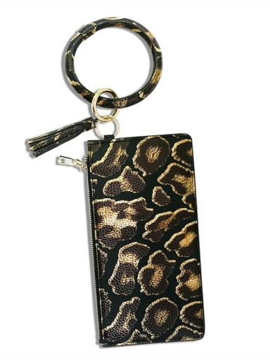 Titanium black k68201 Alloy PU Mobile phone bag Wrist Key Chain