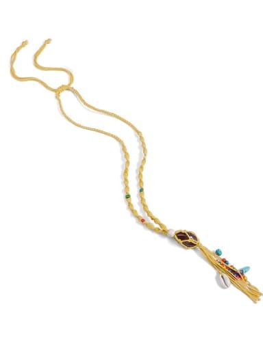 Yellow n70252 Bead Cotton Rope Stone Tassel Hand-Woven Artisan Lariat Necklace