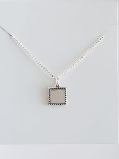 Yhn056 square 925 Sterling Silver Geometric Minimalist Necklace