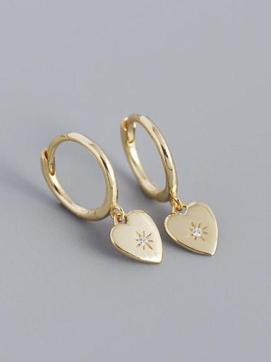 Gold 925 Sterling Silver Rhinestone Heart Minimalist Huggie Earring