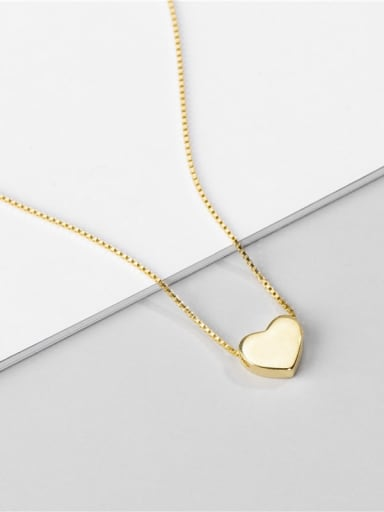 Gold necklace 925 Sterling Silver Heart Minimalist Necklace