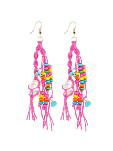 E68745 Alloy Turquoise Cotton Rope  Wooden beads Tassel Artisan Hand-Woven Drop Earring