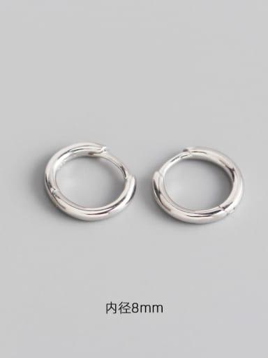 3#8mm platinum 925 Sterling Silver Geometric Minimalist Huggie Earring