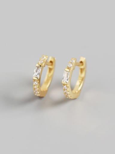Gold 925 Sterling Silver Rhinestone White Geometric Trend Huggie Earring