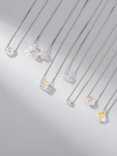 925 Sterling Silver Swarovski Crystal Multi Color Geometric Minimalist Necklace