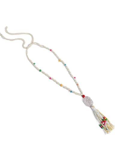 Beige n70253 Bead Natural stone Rope Cotton Tassel Bohemia Hand-Woven Long Strand Necklace