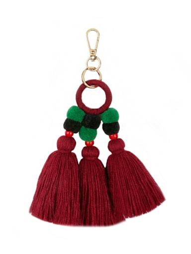 Red k68195 Alloy Bead Cotton Rope  Tassel Bohemia Hand-Woven Bag Pendant