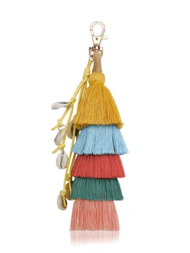 Yellow color k68097 Alloy Conch Cotton Rope Tassel Bohemia Hand-Woven Bag Pendant
