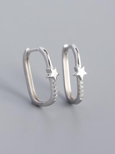 Stars (Platinum) 925 Sterling Silver Cubic Zirconia Geometric Minimalist Huggie Earring