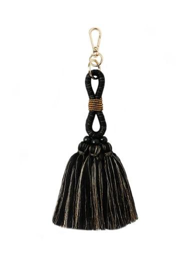 Black k68194 Alloy Bead Cotton Rope  Tassel Hand-Woven Bohemia Bag Pendant