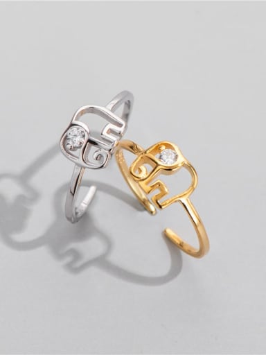 Gold 925 Sterling Silver Elephant Minimalist Band Ring