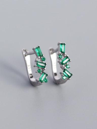 Platinum (greenstone) 925 Sterling Silver Cubic Zirconia Geometric Minimalist Huggie Earring