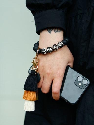 Alloy Tassel Silicone  Beads Leopard Bracelet /Key Chain