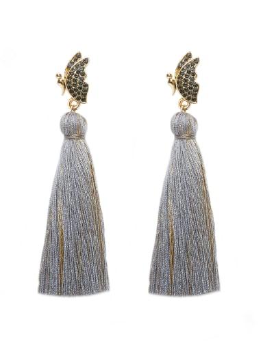 E68798 Alloy Cotton Rope Tassel Bohemia Hand-Woven Drop Earring