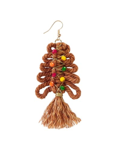 Brown e68849 Alloy Cotton Rope Tree Tassel Christmas Bossian Style Hand-Woven Drop Earring