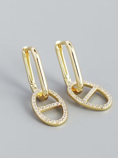 Gold 925 Sterling Silver Cubic Zirconia Geometric Minimalist Drop Earring